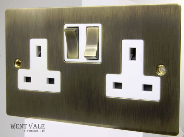 Heritage Brass Elite Flatplate Range - T91.850.ABW - 13a Twin Switched Socket